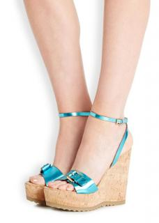 Stella McCartney Turquoise Faux Leather Cork Wedge Sandals