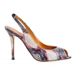 Fendi Snakeskin Print Slingback Sandals