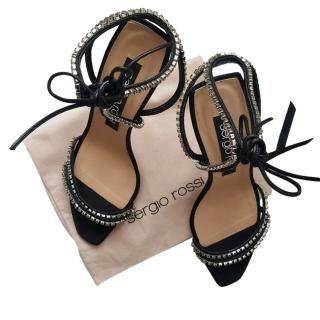Sergio Rossi Black Satin Crystal Embellished Sandals