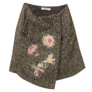 Blumarine Tweed Floral Applique Asymmetric Mini Skirt
