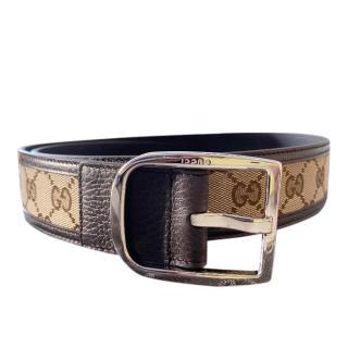 Gucci Brown Monogram Canvas & Leather Belt - Size 85
