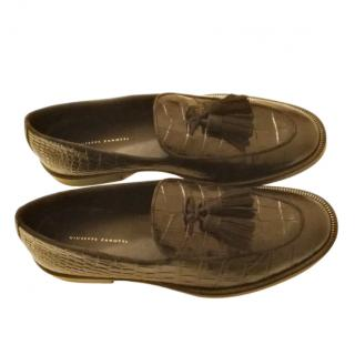Giuseppe Zanotti Croc Embossed Black Leather Loafers