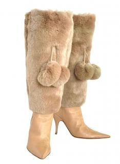 Dior Vintage Cream Leather Boots with Detachable Fur Pom Pom Cuffs