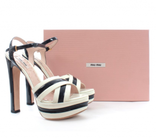 Miu Miu Striped Patent Leather Platform Sandals