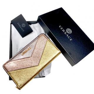 Versace Multicoloured Metallic Zip-Around Wallet