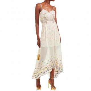 Paco Rabbane Floral Embroidered Chiffon & Satin Dress