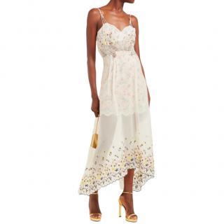 Paco Rabbane Floral Embroidered Chiffon & Satin Dress