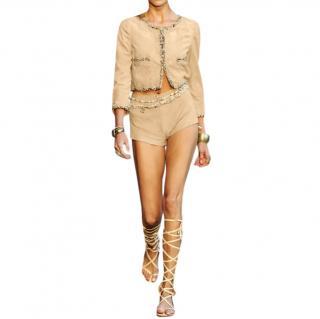 Chanel Beige Suede & Tweed Runway Jacket