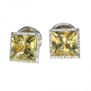 William & Son Diamond & Helidor Square Cut Earrings