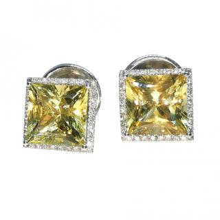 William & Son Diamond & Helidor Square Cut Earrings