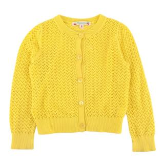 Bonpoint Yellow Embroidered Knit Cardigan
