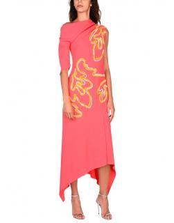 Peter Pilotto Coral Crepe Embroidered Midi Dress