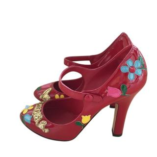 Dolce & Gabbana Red Embellished Mary-Jane Pumps