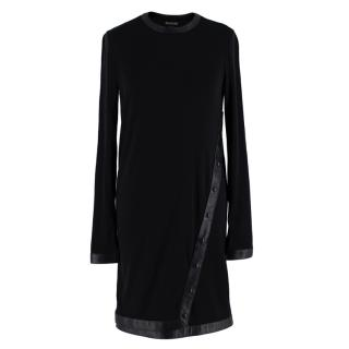 Tom Ford Black Wool Blend Jersey Leather Trimmed Mini Dress
