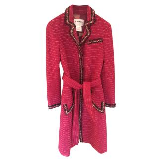 Chanel Cerise Red Tweed Belted Coat