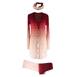 Missoni Red & Pink Cardigan/Trousers/Headband Ombre Set