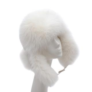 Bespoke White Fox Fur Trimmed Leather Trapper Hat