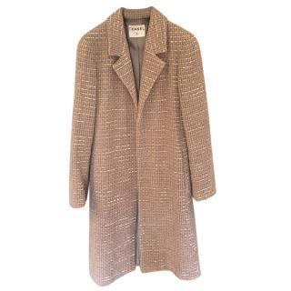 Chanel Beige Tweed Tailored Coat