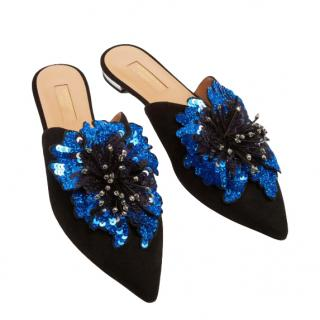 Aquazzura Suede Disco Flower Mule Flat in Black