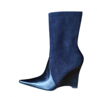 Casadei Suede & Leather Wedge Booties