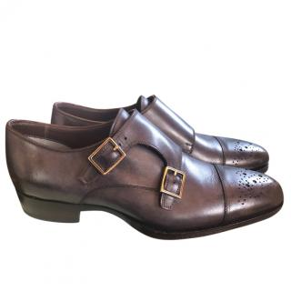 Tom Ford Antique Grey Leather Double Monk Strap Brogues