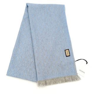 Gucci Blue Monogram Knit Wool Scarf