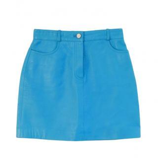 Celine Runway Vintage Blue Leather Mini Skirt