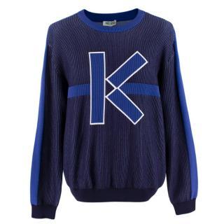 Kenzo Navy 'K' Logo Graphic Knit Jumper