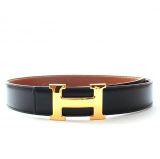 Hermes H Belt Buckle with Reversible Black/Gold Belt GHW