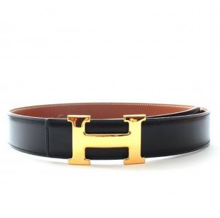 Hermes H Belt Buckle with Reversible Black/Gold Belt GHW
