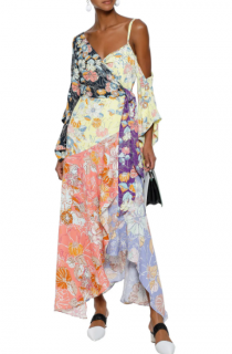 Peter Pilotto Floral Print Crepe De Chine Maxi Wrap Dress