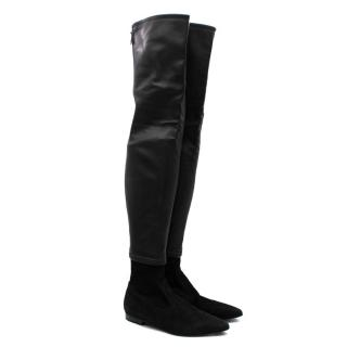 Chanel Black Suede & Leather Long Flat Boots