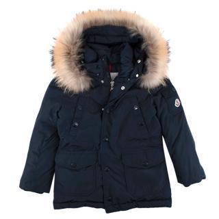 Moncler Navy Fur Trimmed Hooded Down Jacket