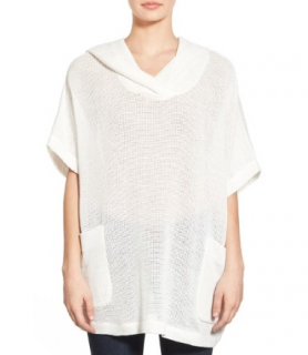 James Perse Ivory Mesh Knit Hooded Top
