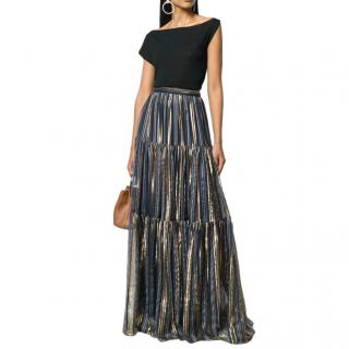Peter Pilotto lurex striped chiffon tiered maxi skirt