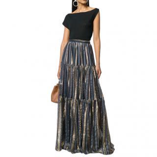 Peter Pilotto lurex striped chiffon tiered maxi skirt