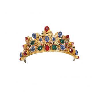 Dolce & Gabbana Gold Tone Crystal Embellished Tiara