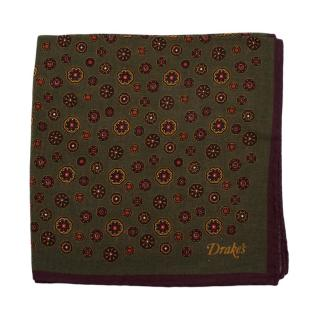 Drake's Green Hexagonal Pattern Wool & Silk Handkerchief