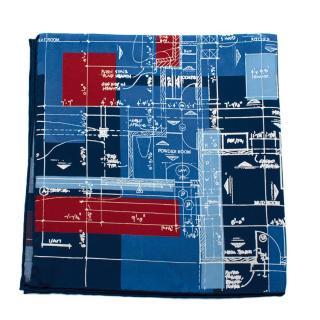 Turnbull & Asser Blue & Red Silk Blueprint Handkerchief