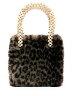 Shrimps Faux Fur Leopard Print Faux Pearl Handle Una Bag