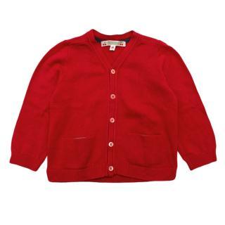 ]Bonpoint Red Linen & Cotton Blend Knit Cardigan