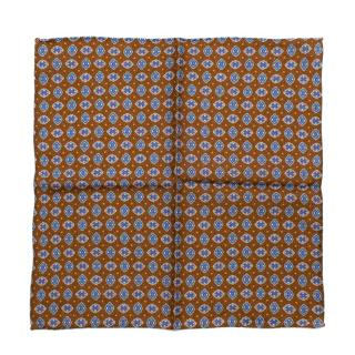 Michele Negri Brown & Blue Wool & Silk Handkerchief