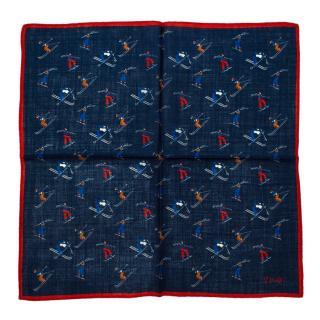 Drake's Navy Ski Wool & Silk Handkerchief
