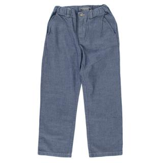 Bonpoint Blue Cotton Denim Effect Trousers