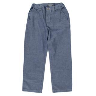 Bonpoint Blue Cotton Denim Effect Trousers