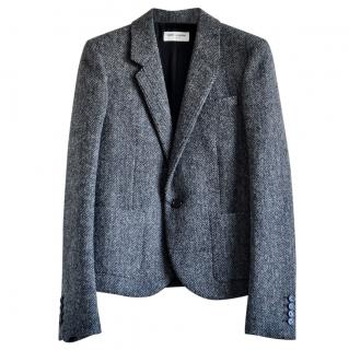 Saint Laurent Grey Chevron Wool Tailored Jacket