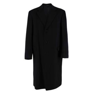 Canali Black Wool & Cashmere Single Breasted Coat