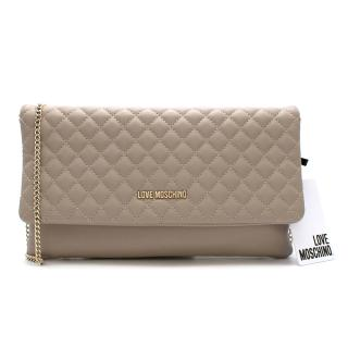 Love Moschino Cream Quilted Leather Flap Clutch Bag