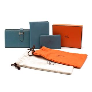 Hermes Celeste Epsom Leather Bearn Wallet, Agenda & Coin Purse