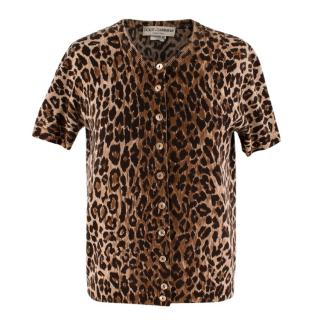 Dolce & Gabbana Leopard Print Cashmere Short Sleeve Cardigan